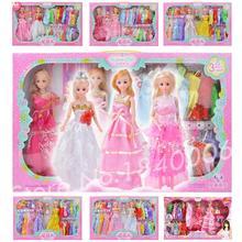 26 Item/Set=2 Dress Princess Doll + 1 baby doll + 23 fabric soft Clothes Fashion Gift box Princess mini BJD Toys For Barbie Doll