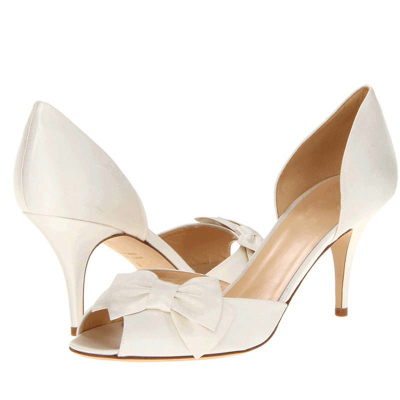 Spring Nightclub Peep Toe Shoes High Heels White Bowtie Wedding Dress Shoes 3 Inches heel shoes for Bride Bridesmaid Shoes