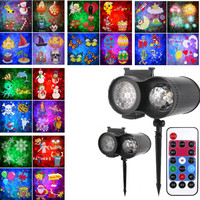 2019 Christmas Lights Outdoor LED Laser Snowflake Projector 20 Film Cards Dj Disco Light New Year's Decor Home Garden Holiday