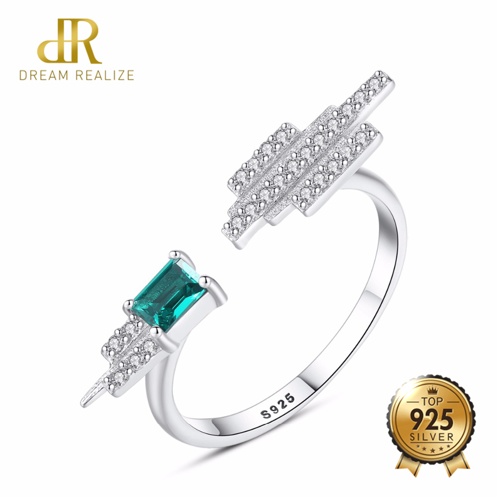 DR Fashion Vintage Green Nano Emerald Ring Genuine Solid 925 Sterling Silver May Birthstone Rings For Women Fine Jewelry