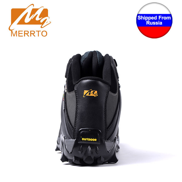Shipped From Russia MERRTO Men Waterproof Hiking Shoes Snow Boots Professional Outdoor Cowhide Walking Boot Sneakers Athletic