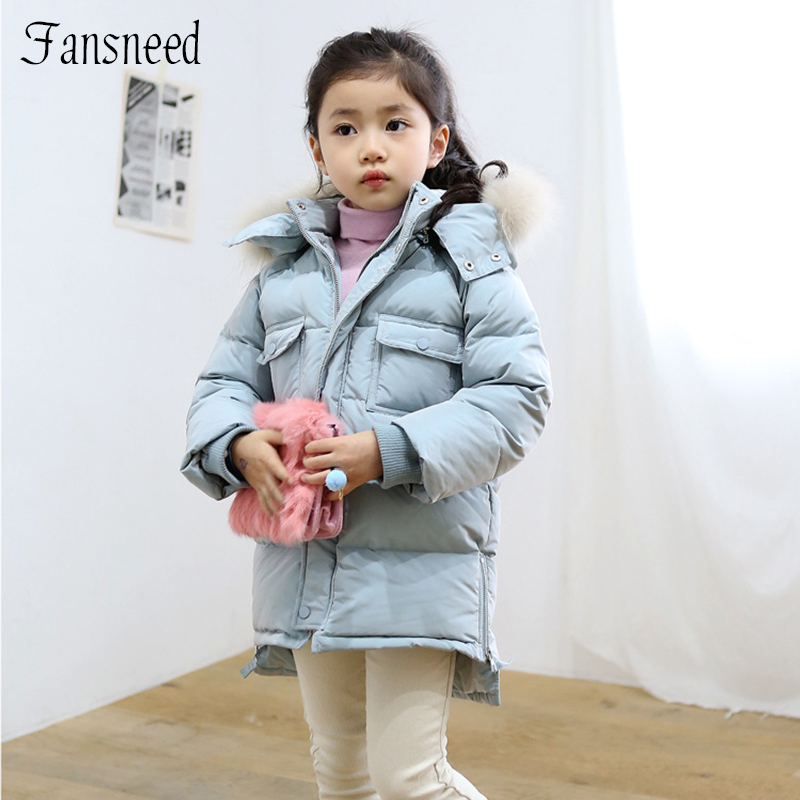 2016 winter new girls longer thicker cotton padded clothes solid color hooded fur collar