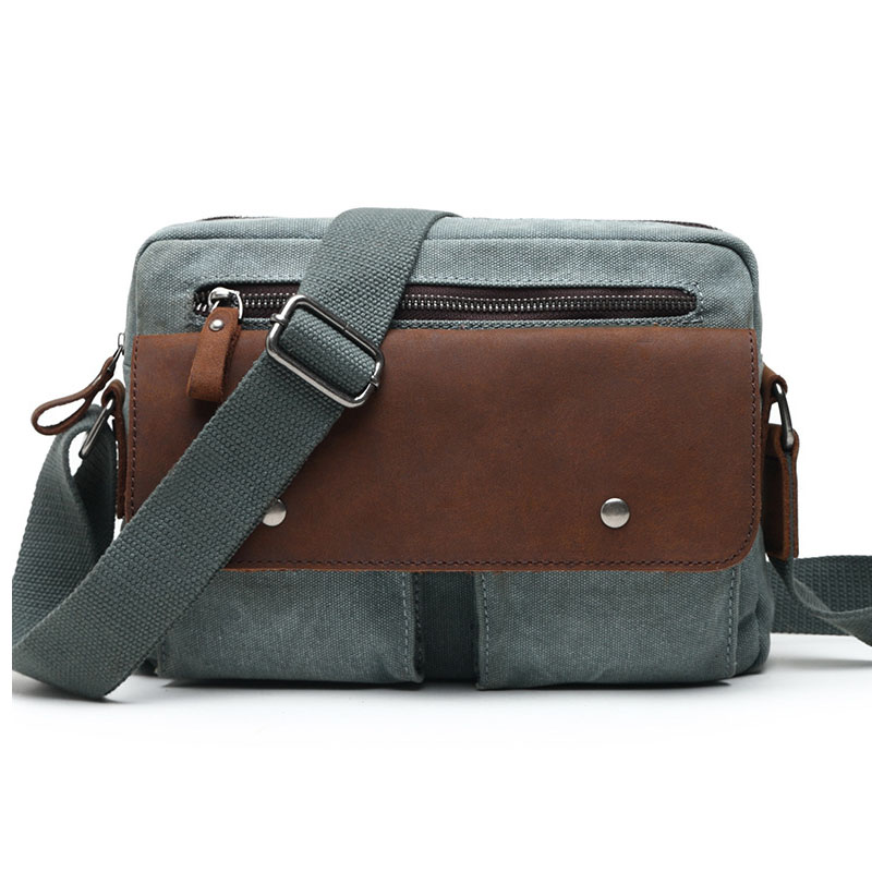 Classical Men's Casual Canvas Shoulder Bag With Crazy Horse Leather High Quality Canvas Crossbody Bags For School & Travel G071 casual canvas satchel men sling bag
