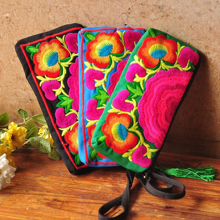 New Vintage Nepal India Embroidery Clutch Canvas Cotton Bag Mobile Phone Coin Purse Women Long Wallet Day Clutch Handbag