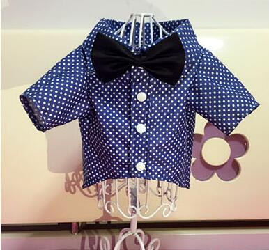 New design dogs cat cool fashion Dot t shirt with bowtie doggy handsome wedding costume shirts puppy clothes shirt 1pcs XS-XXL