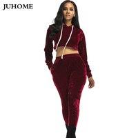 2017 Elegant Autumn Winter Velour Tracksuit Women Red Blue Hooded Velvet Crop Top Sweatshirt Long Pants