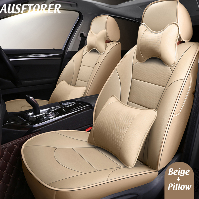 AUSFTORER Perforated Cowhide Seat Cover For Renault Captur 2017 Accessories Automobiles Leather Car Seats Protectors