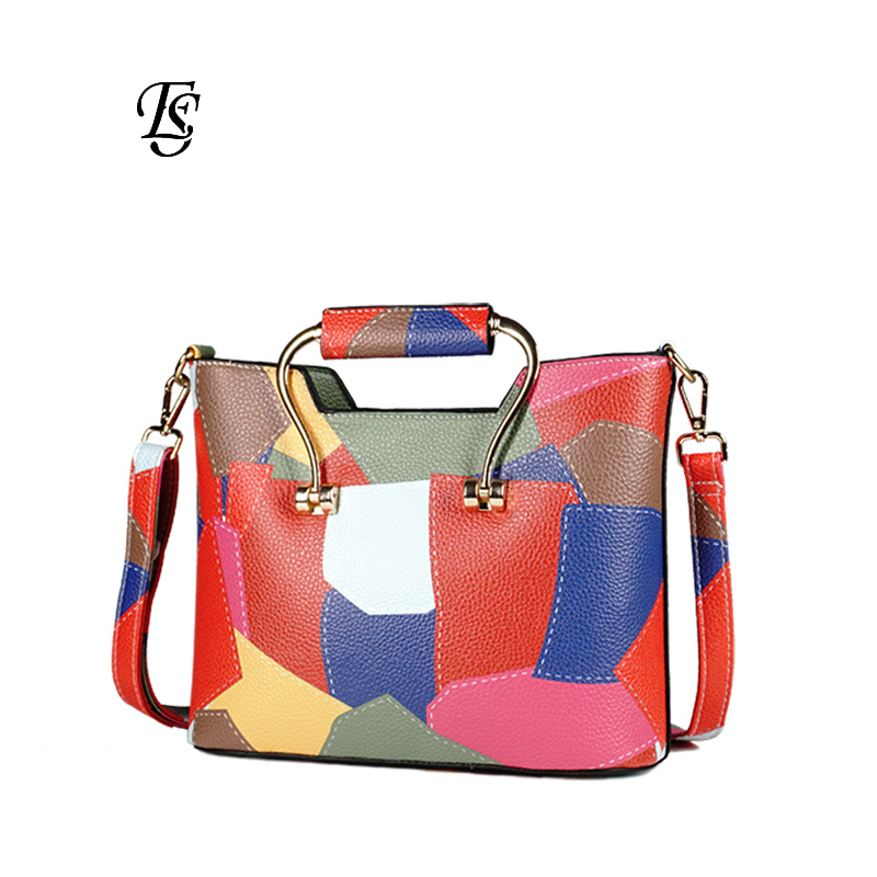 Patchwork Shoulder Bags Womens 2018 New Fashion Casual PU Leather Shoulder Bag Flap Colorful Small Crossbody