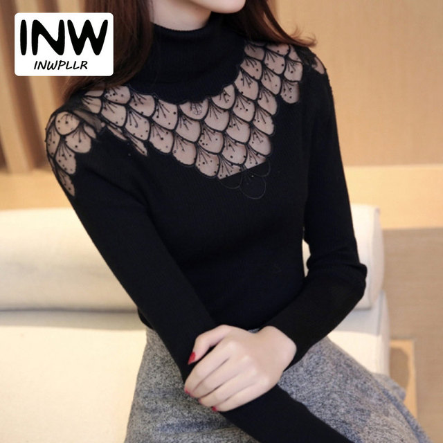 2019 Women Sweater Pullovers Soft Lace Knitted Sweater Ladies Jumper  Diamond Pattern Long Sleeve Turtleneck Pullover Femme Hiver a0777e287