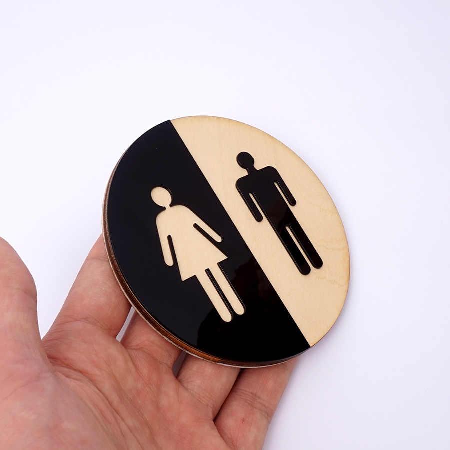 1 шт. держатель туалетной бумаги знак на дверь для мужчин и женщин деревянная ванная комната, Туалет акриловая 3d черная зеркальная поверхность Наклейка на стену украшение дома