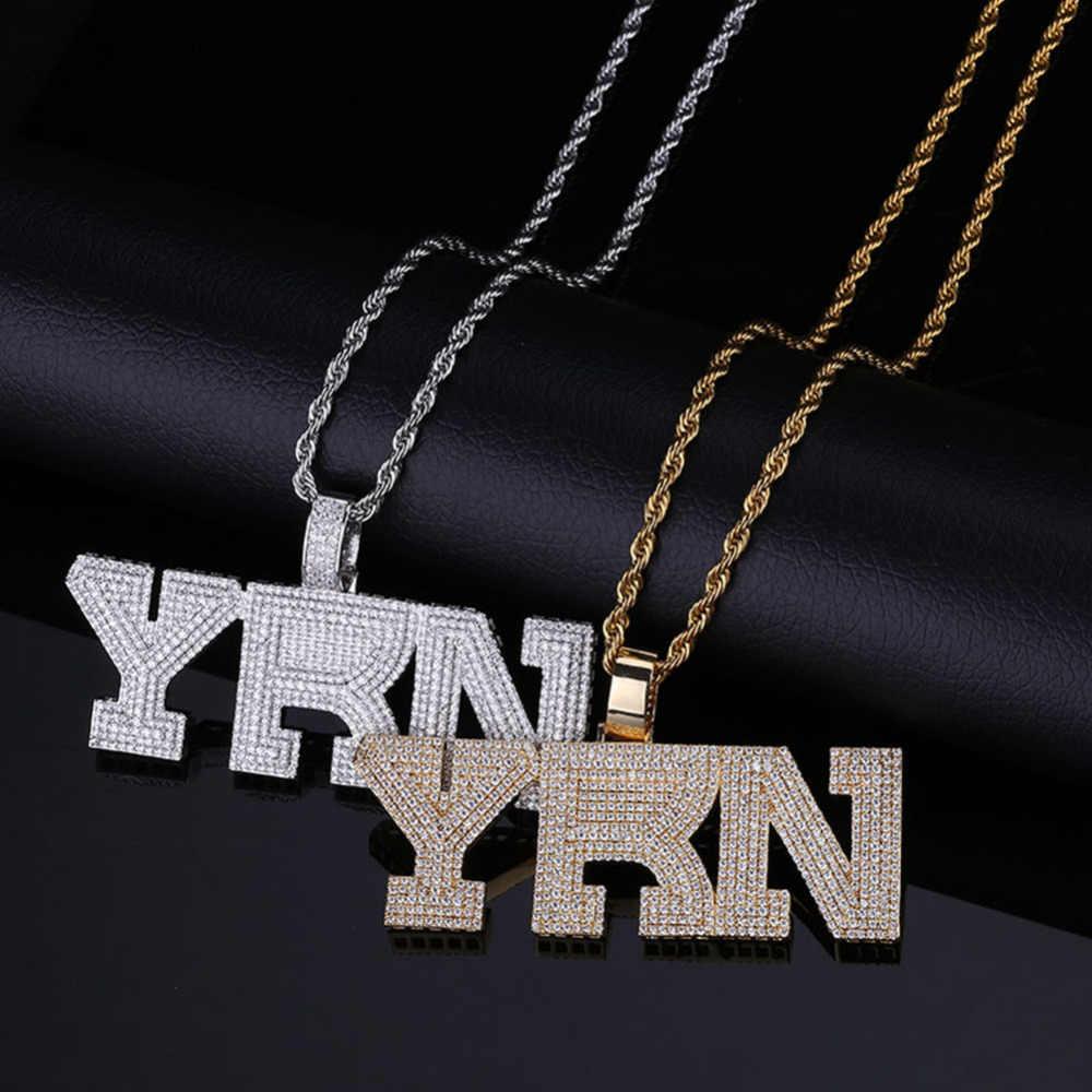 Nome da moda zircão cúbico congelado para fora corrente colar yrn design carta pingente hip hop jóias corrente de declaração colares bling presente