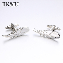 JIN&JU 2017 Sale Fashion Feather Design Cufflinks Silver Color Big Size Men Jewelry For Shirt Men Best Gifts