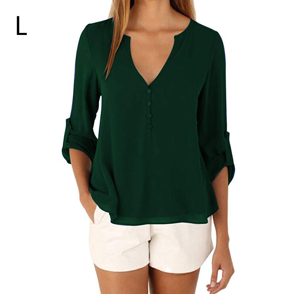 2018 New Autumn V-neck Sexy Long Sleeve Solid Color Waist Irregular Large Size Chiffon Blouses Shirts Female