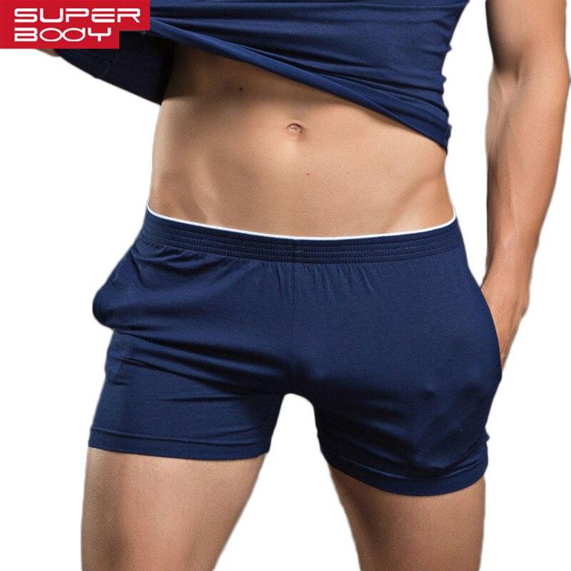 Superbody dos homens Cueca Boxer Shorts Troncos Calções Roupas de Algodão Homens Underwear Da Marca de Alta Qualidade Homens Boxers Casa Desgaste Do Sono