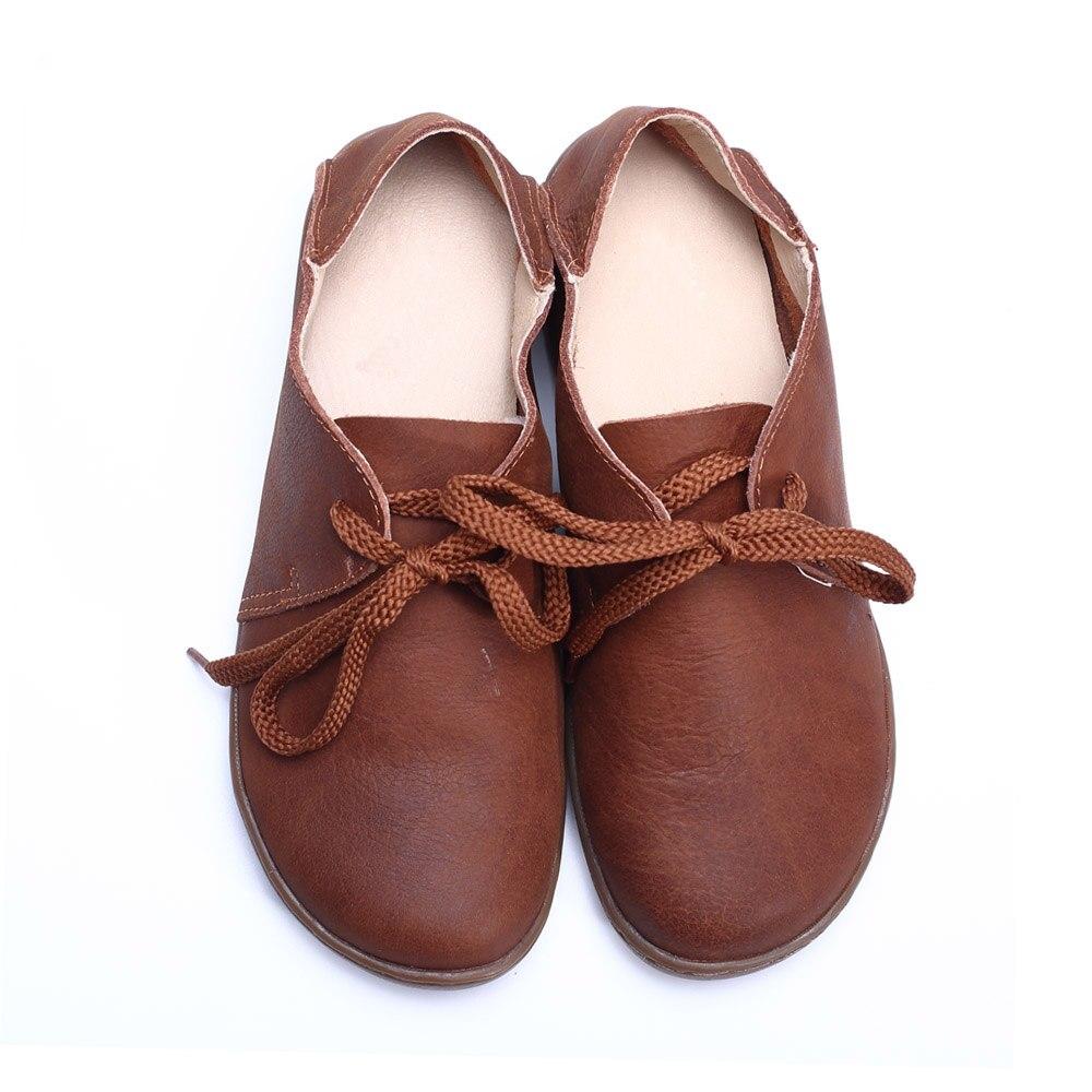 Chaussures Dames Caoutchouc Authentique résistance Semelle Ceyaneao Bout Cuir blanc Noir Lacent En 100 Slip 2018 Femelle Femmes brown Plates Rond ZqIwIvE