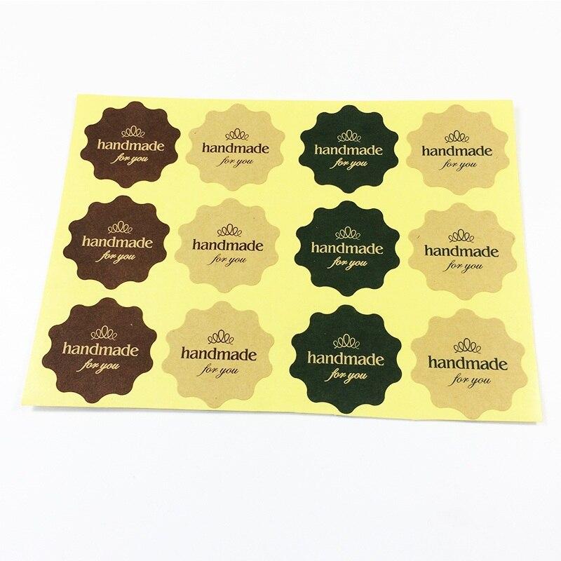 120 шт. Винтаж цветок круглый волна Kraft Бумага ручной для вас «Печать Стикеры для ручной работы товары DIY мульти подарок посылка этикетки