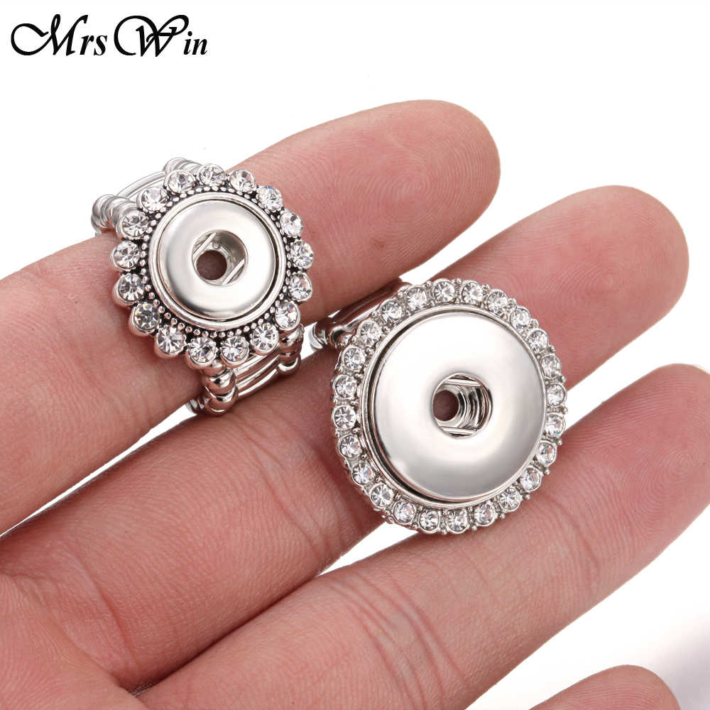 New Snap Jewelry Crystal Snap Button Ring 12mm 18mm DIY Party Ring Mrs Win Button Rings