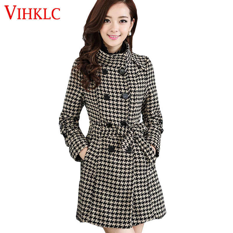 2017 Autumn Winter Women Windbreaker Coat Black white Houndstooth Plus size Boss Self-cultivation Coat Women Casaco femin  B47