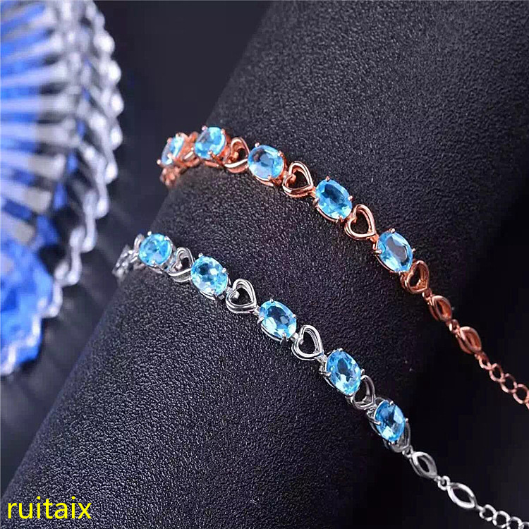 KJJEAXCMY fine jewelry 925 Pure silver with natural blue topaz bracelet jewelry gold and silver color.fghjyu kjjeaxcmy fine jewelry 925 pure silver with natural blue topaz bracelet jewelry gold and silver color