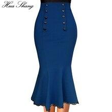 Женские юбки русалки размера плюс, лето, Женская высокая талия, пуговицы, кружево, украшение, облегающая юбка-карандаш, длинные юбки макси