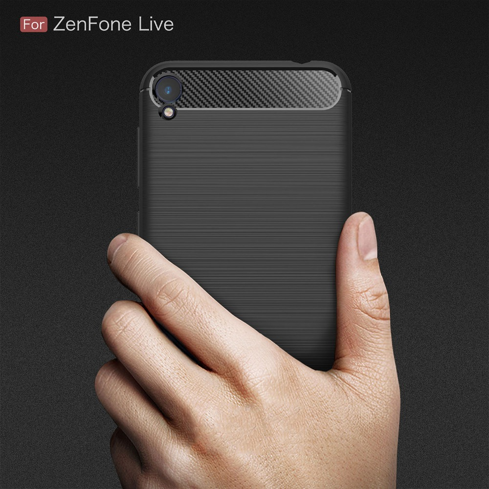 GXE For Asus Zenfone Live ZB501KL Case Luxury Shockproof Silicone Carbon Fiber Hybrid TPU Cases Cover for Asus Zenfone Live