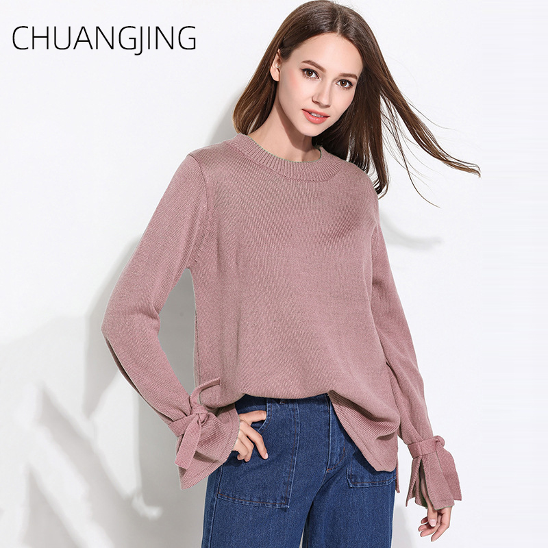 Autumn Casual Knitted Sweater Women Winter 2019 Solid O neck Loose Long Sleeve Pullovers Plus Size Sweater Ladies Sweet Sweater in Pullovers from Women 39 s Clothing