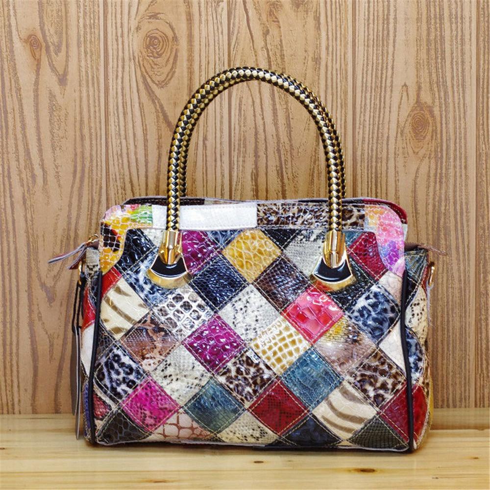 Caerlif gift for mom Women Handbags Shoulder Crossbody Bags Genuine Leather Bag Bolsas ladies tote bag Mosaic colorful snake bag