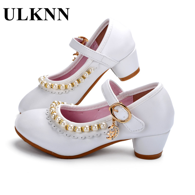 ULKNN Kids Shoes Girls Sandals Ruffles Pink White Fille Shoes Pearl Soft Leather Female Sandal Children Princess Dress Shoes