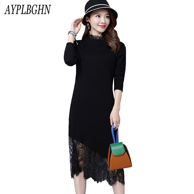 New Women Lace Dress Autumn And Winter Sweater Dresses Slim Turtleneck Long Knitted Dress Sexy Bodycon Robe dress 5L85