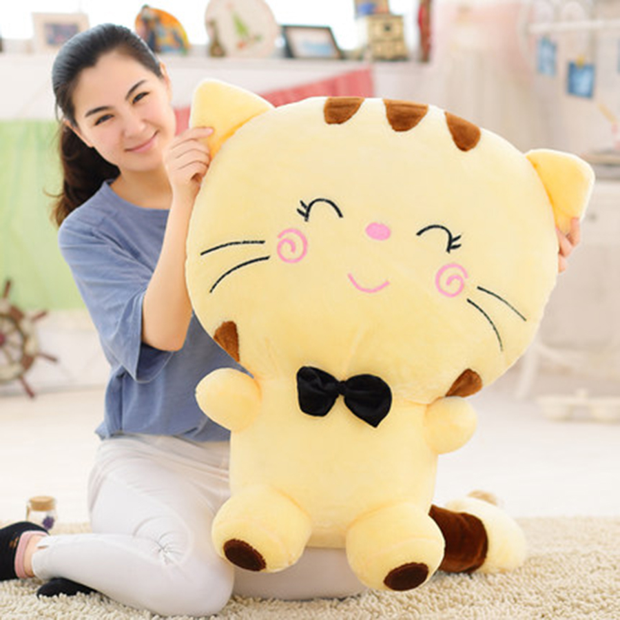 Cute Large Face Cat Plush Stuffed Toy Pillow Kawaii Birthday Gift Cushion Cat Doll Peluches De Animales Birthday Present 70C0046  cute boobs penis sytle plush pp cotton pillow sexy cushion doll toys birthday present