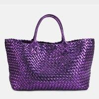 Wallet Gift Bag Brand Quality Leather Women's Handbag Messenger Bag Vintage Large Capacity Handmade Weaving Totes