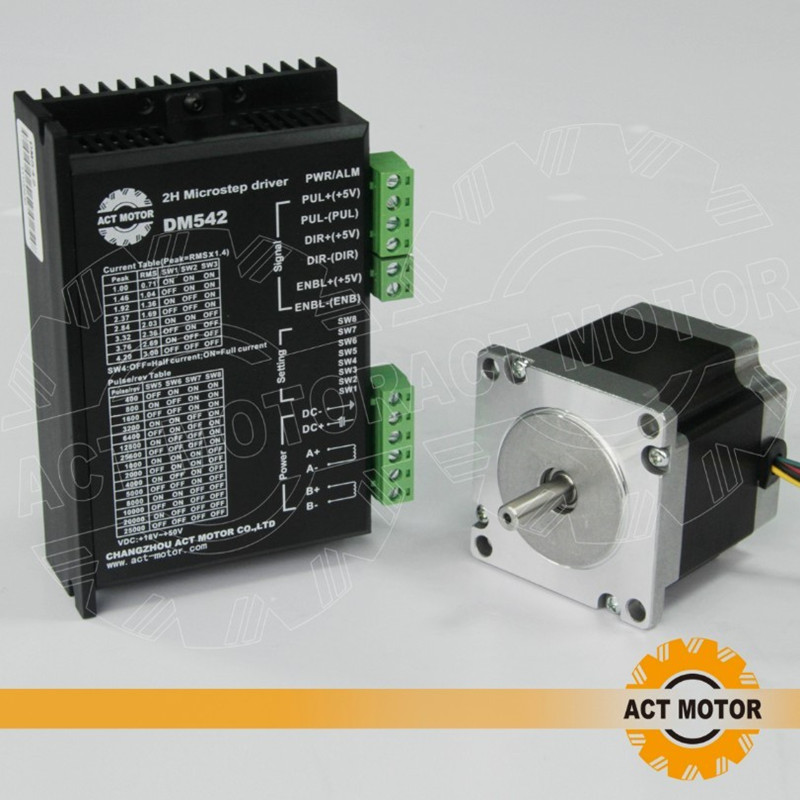 ACT Motor 1PC Nema23 Stepper Motor Single Shaft 23HS6620 185oz-in 2A 6-Lead+Driver DM542 4.2A 50V 128Micro Engraving anet d19l25 aluminum stepper motor shaft