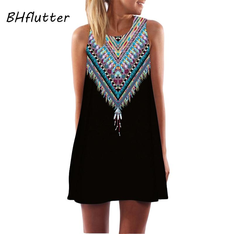 fb00fab0ce416 Summer Dress Casual Beach Dress Floral Print Tunic Sleeveless Short Chiffon  Dress - Kuko Fashion Store