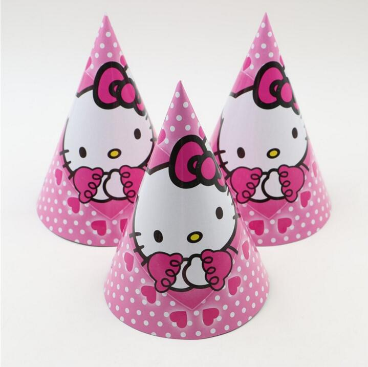 8e4044bbae999 12pcs lot Birthday party supplier Cute white cat HELLO KITTY theme party hat  cap cartoon paper cap -in Party Hats from Home   Garden on Aliexpress.com  ...
