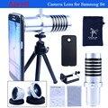 4 em 1 kit de lente zoom 14X lente grande angular e Macro + lente olho de peixe Mini tripé com lentes para Samsung S6 CL-22S