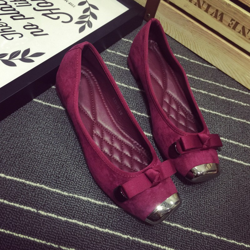 2 Color 2016 Fashion Spring Autumn Women's Pumps Flock Low Heel Metal Square Toe Bowtie Slip-On Ladies Single Shoes Red Black xiaying smile summer women sandals casual fashion lady square heel slip on flock shoes pointed toe cover heel lace bowtie shoes