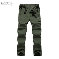 Amotrip Summer Outdoor Sports Quick Dry Pants Men Women Camping Climbing Trekking Hiking Pants Removable Thin