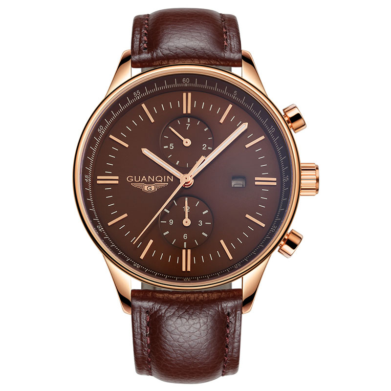 GUANQIN GQ13006 Mens Watches Top Brand Luxury Fashion Men Sport Casual Quartz Watch Male Leather Wristwatch relogio masculino mens watches top brand luxury guanqin men fashion moon phase luminous wristwatch sport leather quartz watch relogio masculino