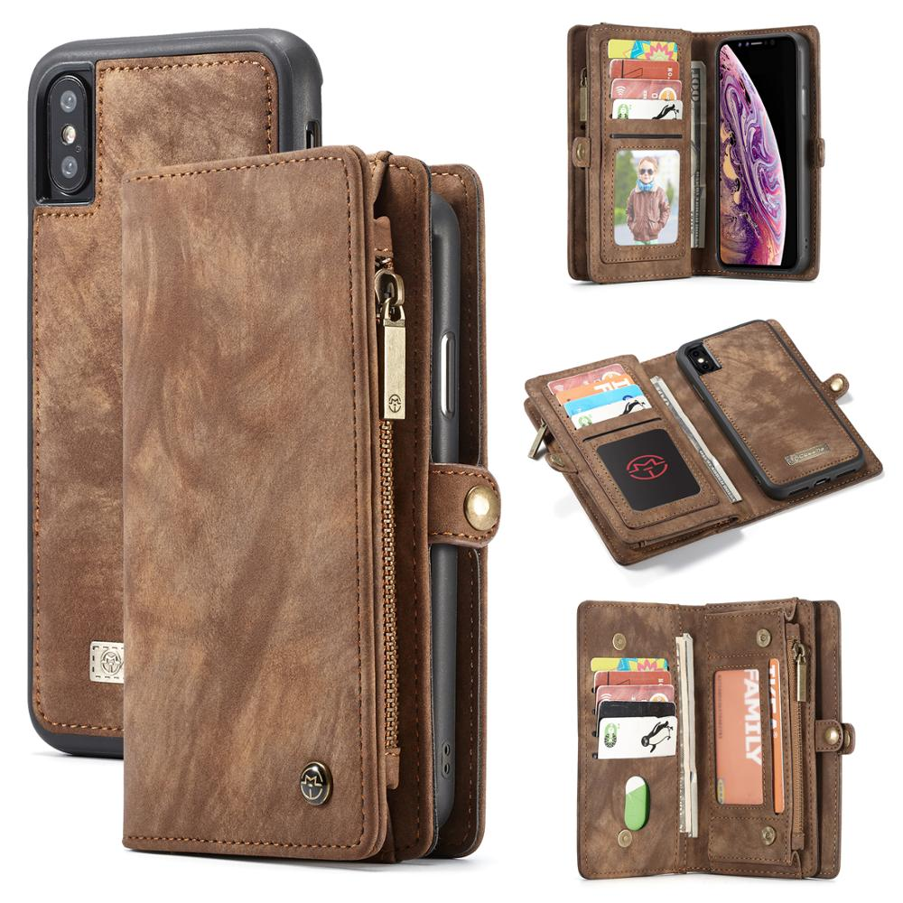 Luxury Wallet Zipper Flip Stand Case For iPhone 10 8 7 6s Plus XS MAX XR 8Plus 7Plus 6Plus Magnet Slim PU Leather Cover capinha(China)