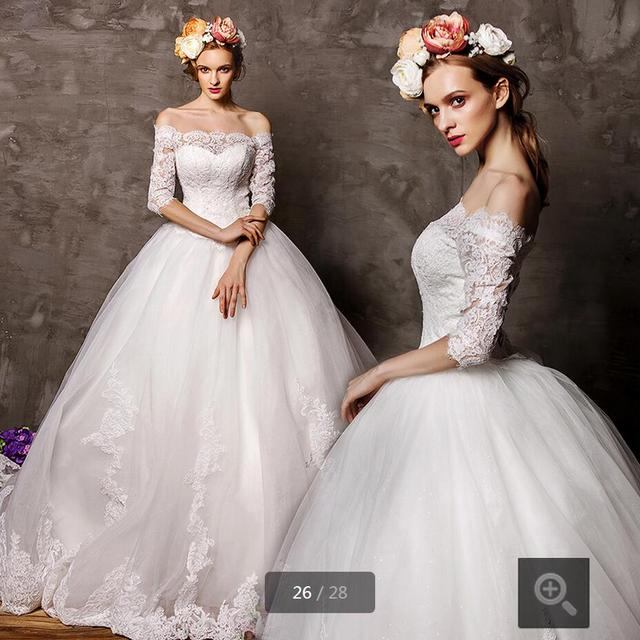 5144fc027e6 2016 new fashion ivory white ball gown lace appliques wedding dresses half  sleeve corset princess sheer back wedding gowns