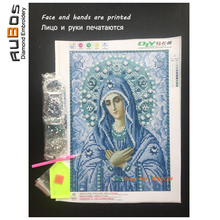 RUBOS DIY 5D diamond painting Religions Blue Virgin Mary pray Icons diamond embroidery 3D crystal Patterns rhinestone Partial