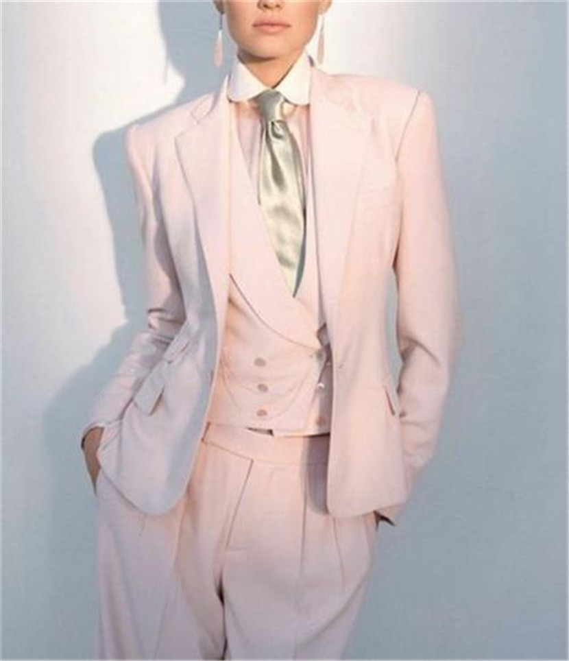 Custom Made Pink Women's Suits Ladies Business Office Tuxedos Formal Work Wear Jacket+Vest+Pants
