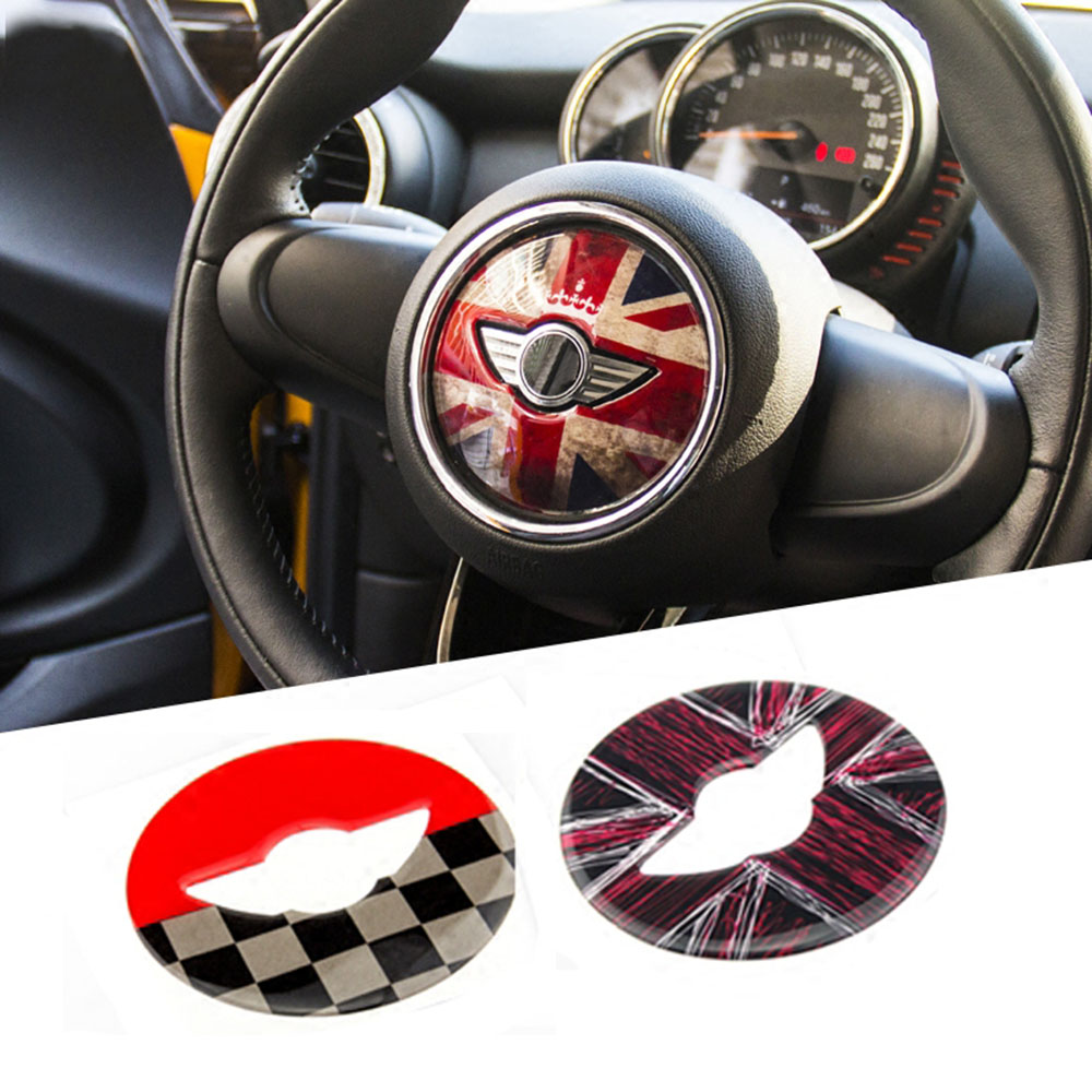 Union Jack Steering Wheel Center Sticker Decal Decoration for BMW MINI Cooper JCW F54 F55 F56 F60 New Countryman Car Styling carking diy abs steering wheel covers stickers for bmw mini cooper red blue multi color