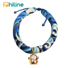 Japanese Ukiyoe Style Small Dog Cat Collar with Cute Bells Charm Adjustable Pet Necklace for Supplies