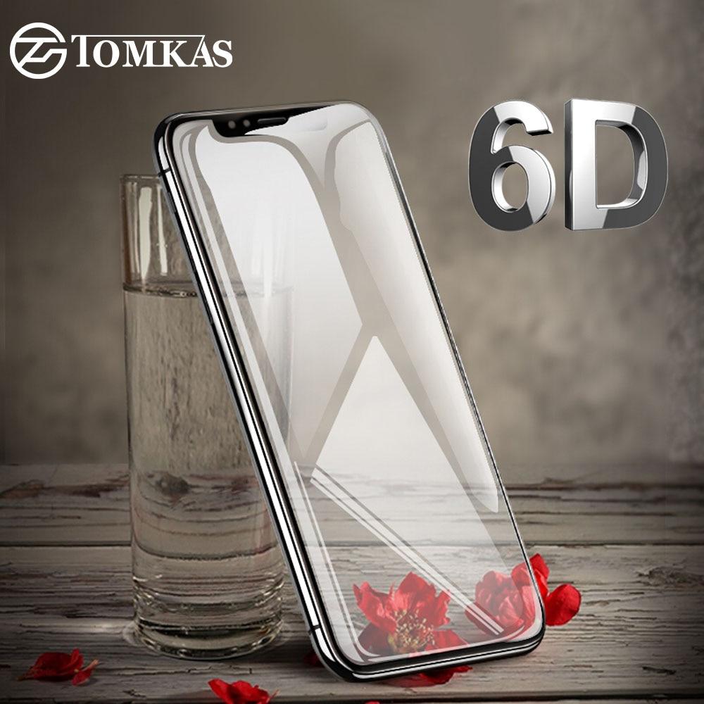 TOMKAS 6D de vidrio para iPhone 7 6 6 X Xs X Max Xr templado Protector de pantalla de vidrio Protector para iPhone 6 s 8 Plus protección de pantalla