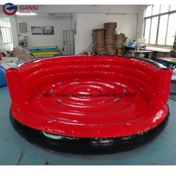 Crazy water game 3m diameter 1.0m height inflatable water UFO with cheap price high quality inflatable flying fish air sofa professional 4 3 3m water climbing iceberg cheap inflatable water iceberg for water playing