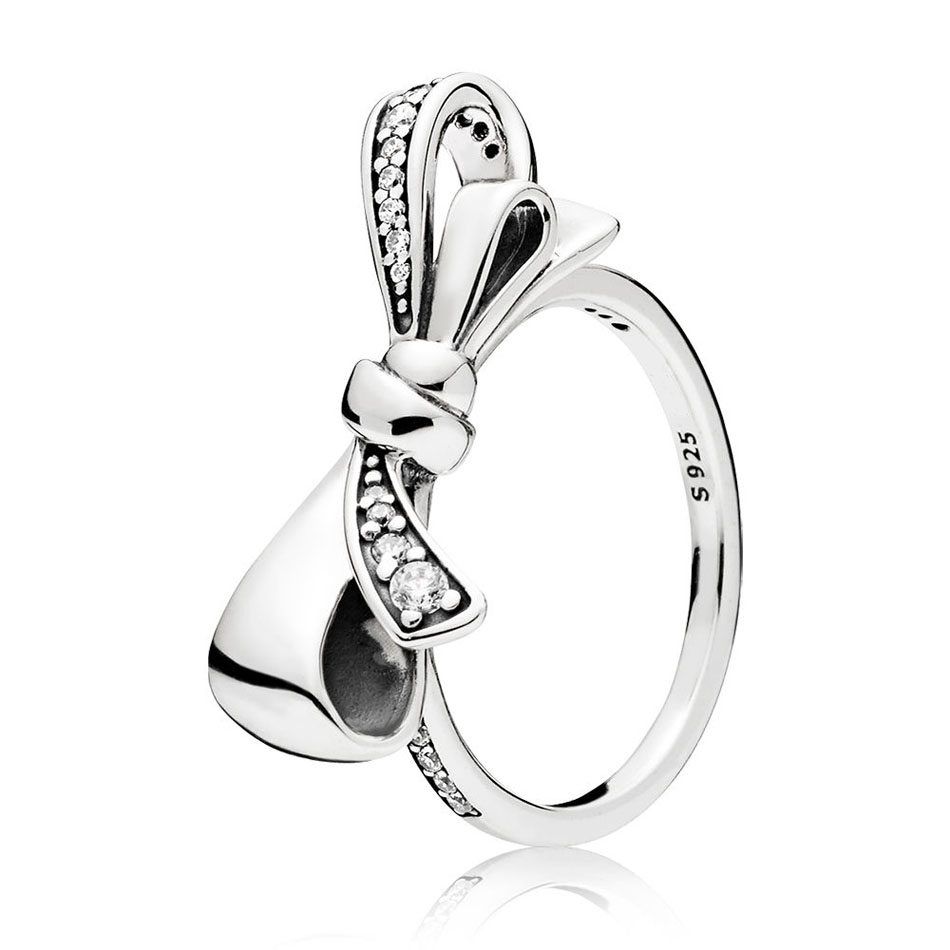 Authentic 925 Sterling Silver Ring For Women Brilliant Bow Ring Clear CZ Girl Finger Ring fit Lady Jewelry
