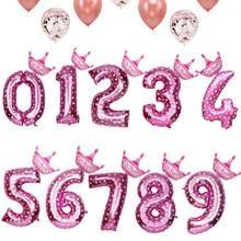 32 pulgadas número azul Rosa 0-9 globos de aluminio dígitos globos de helio cumpleaños fiesta decoración de la boda globos de aire suministros para eventos y fiestas