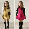 O Vestido da menina Primavera Outono arco vestido de princesa Crianças roupas Dot 2 cores vestidos 1 pcs Vestido de manga comprida