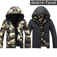 Mens Camouflage Jackets Winter Hoodies reversible Double Sided Clothes Slim  Hooded Jackets Coats Army Green/Red/Blue 3XL